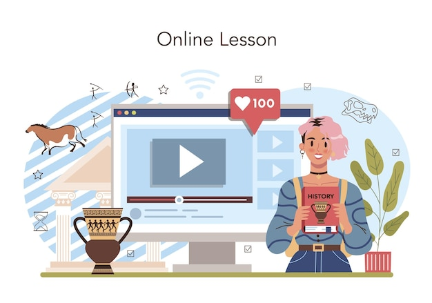 Lección de historia, servicio en línea o plataforma, asignatura de historia de la escuela.
