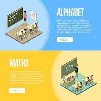 Lecciones de alfabeto y matemáticas en la plantilla de banner escolar