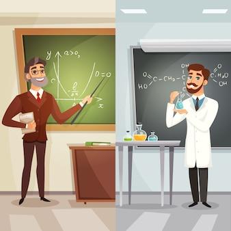 Lecciones escolares letreros verticales de dibujos animados