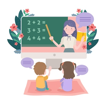 Lecciones en línea para niños ilustradas