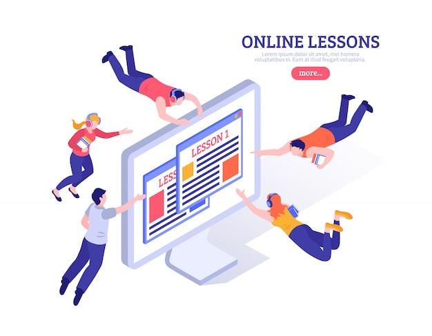 Lecciones en línea con personas pequeñas volando alrededor de la pantalla grande de la pc con la aplicación para estudio a distancia isométrica