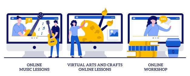 Lecciones de música en línea, lecciones en línea de artes y manualidades virtuales, concepto de taller en línea con personas diminutas. educación en línea mientras se establece el autoaislamiento. metáfora de clases magistrales gratuitas.
