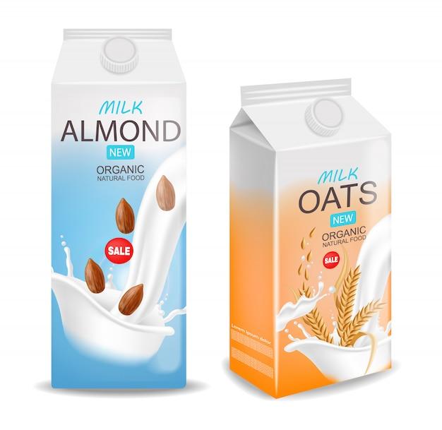 Leche de almendras y leche de avena realista, leche orgánica, nuevo producto, leche fresca