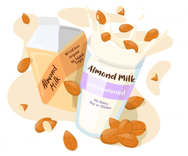 Leche de almendras en un paquete y salpicar con almendras enteras en un vaso cartel publicitario. ilustración de dibujos animados de alimentación saludable aislado sobre fondo blanco.