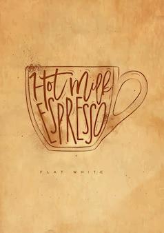 Leche caliente de letras blancas planas, espresso en dibujo de estilo gráfico vintage con artesanía