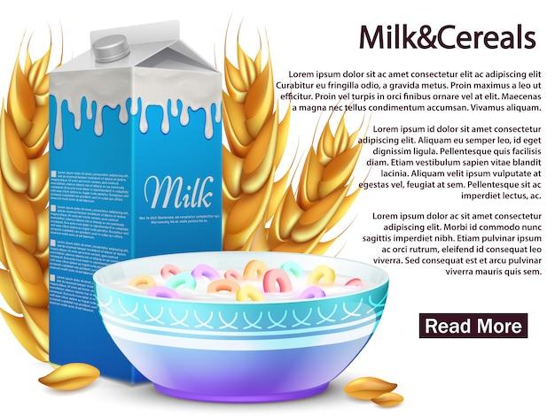 Leche y cereales banner de desayuno saludable