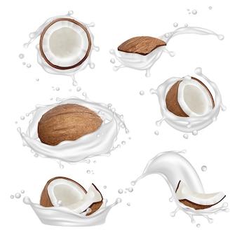 Leche de coco. tropical planta fresca aromáticas nueces y frutas salpicaduras de yogur vector colección realista