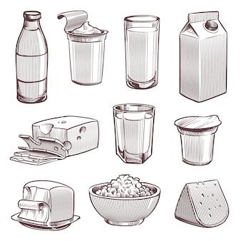 Leche de dibujo. productos frescos de la granja lechera, botella de leche y queso. paquete de yogur, mantequilla, dieta, comida natural, vintage, dibujado a mano, tradicional, desmenuzado, conjunto de ingredientes