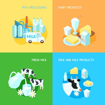 Leche fresca procesamiento y transporte de productos lácteos 4 iconos planos composición cuadrada