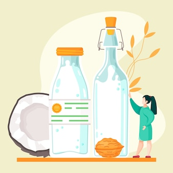 Leche de nuez vegana a base de plantas. alternativa de vaca saludable a la leche lactosa