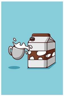 Leche en polvo y un vaso de dibujos animados de leche