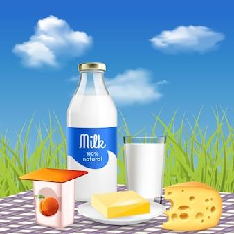Leche y productos lácteos naturales en el picnic.