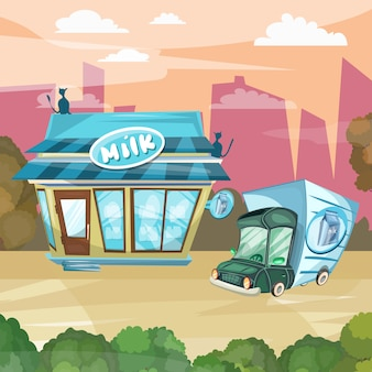 Leche tienda de dibujos animados tienda de productos lácteos fachada edificio vector