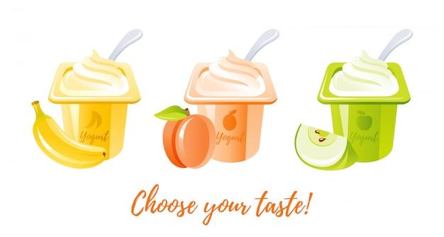 Leche yogur de frutas con plátano, durazno, manzana.