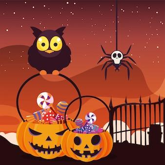 Lechuza con dulces de halloween en la escena del cementerio