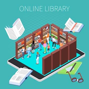 Lectura y composición de la biblioteca con símbolos de biblioteca en línea isométricos