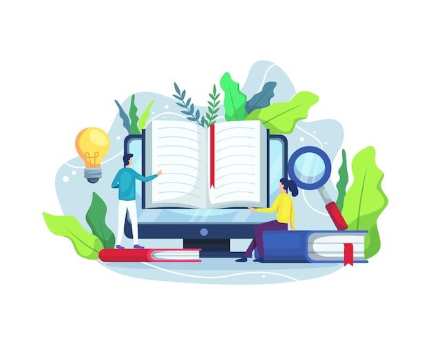 Lectura en línea y concepto de biblioteca en línea