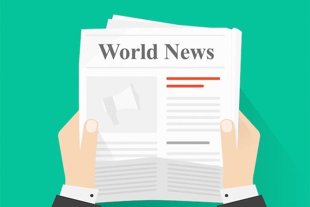 Lectura de papel de noticias o prensa de periódico y revista revista sosteniendo hombre manos humanas vista superior ilustración de dibujos animados plana