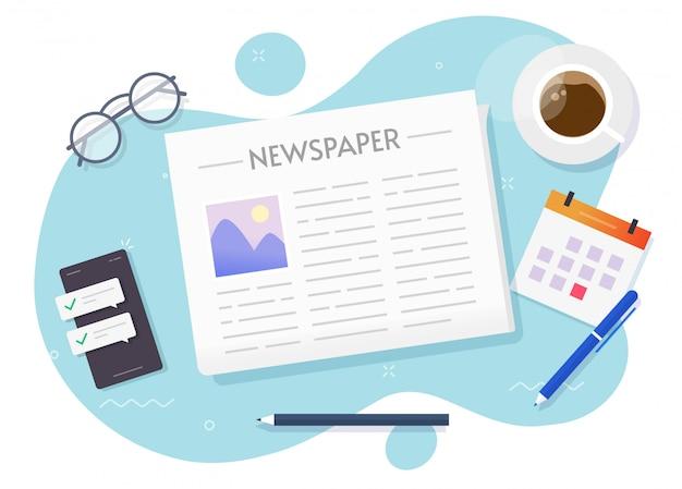 Lectura de periódicos en papel de noticias sobre el escritorio de la mesa de trabajo o el boletín diario de prensa leer la vista superior ilustración de dibujos animados