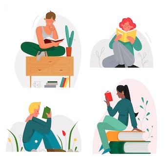 Lectura de personas sentadas con conjunto de ilustración plana de personajes de libros