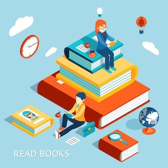 Leer el concepto de libros. educación y escuela, estudio y literatura.