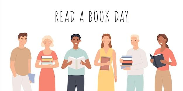 Leer un día de libros. personas de pie con libros, hombres y mujeres jóvenes leen libros concepto de vector de afición de educación del día mundial del libro del festival cultural. persona con libro, lectura y ilustración de pie