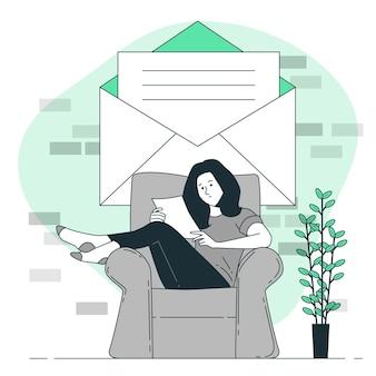 Leer una ilustración del concepto de carta
