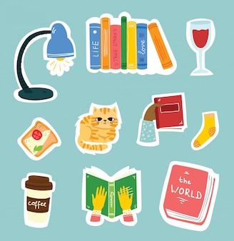 Leer libros pegatinas collage. estantería, pila de libros, encanta leer frases escritas a mano.