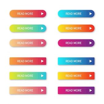 Leer más botones coloridos conjunto aislado sobre fondo blanco.