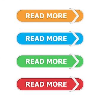 Leer más botones en un plano con flecha en blanco