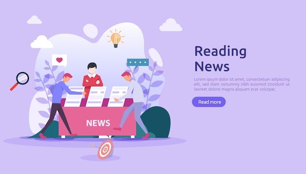 Leer periódicos y medios de artículos de noticias en línea sobre el concepto de teléfono inteligente