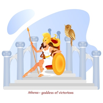 La legendaria atenea diosa griega olímpica de la guerra