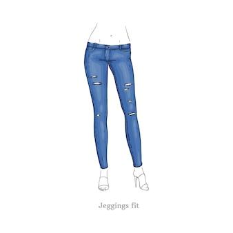 Leggings Fit Jeans Estilo Mujer Pantalones De Mezclilla Vector Premium