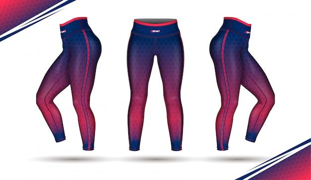 Leggings pantalones entrenamiento moda vector de ilustración con molde