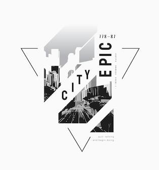 Lema de ciudad épica con fondo de ciudad en blanco y negro