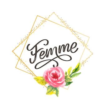 Lema decorativo del cepillo de las flores de la caligrafía de las letras del texto de femme