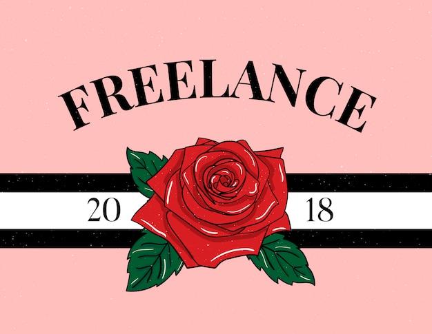 Lema freelance frase gráfica imprimir caligrafía de letras de moda