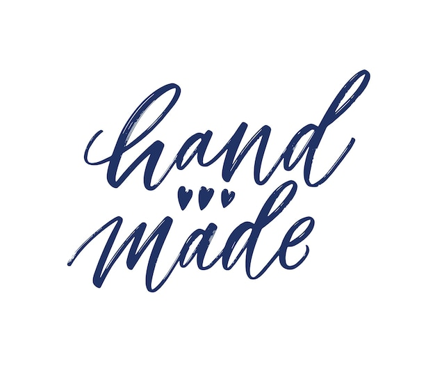 Lema hecho a mano escrito a mano con fuente caligráfica cursiva y decorado con lindos corazones diminutos. letras elegantes para la decoración de productos hechos a mano aislado sobre fondo blanco. ilustración de vector plano.