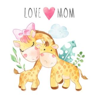 Lema de mamá de amor con ilustración de dibujos animados de jirafa de madre e hijo