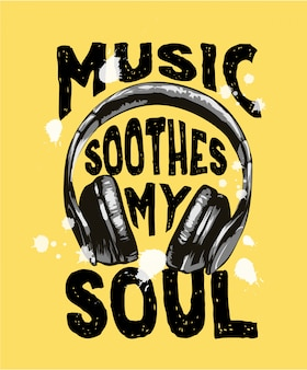 Lema de música con ilustración de auriculares en blanco y negro