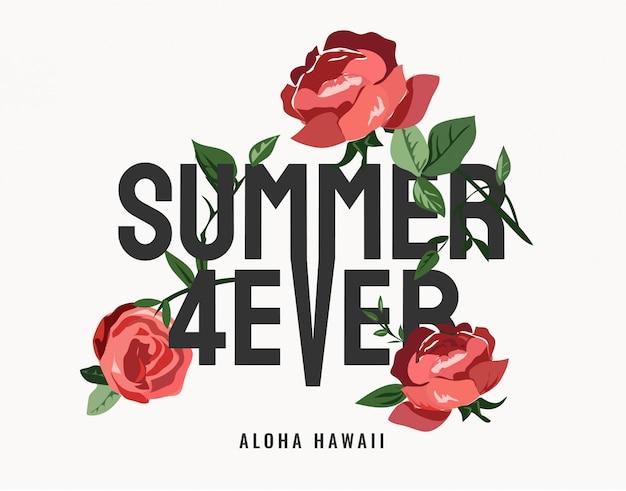 Lema de siempre de verano con rosas rojas vector gráfico