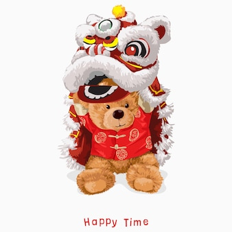 Lema de tiempo feliz con muñeca de oso en la ilustración de traje de danza del león chino