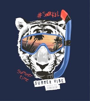 Lema de tipografía con cara de tigre b / n en la ilustración de máscara de snorkel