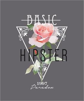 Lema de tipografía con ilustración de rosas