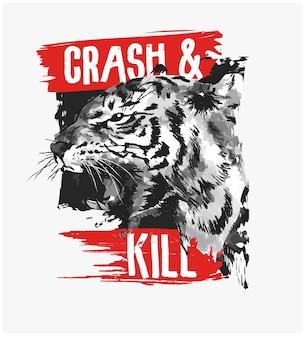 Lema de tipografía con ilustración de tigre