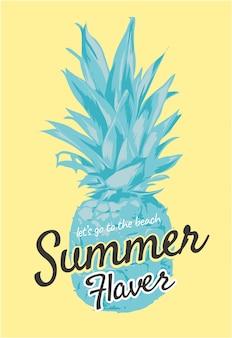 Lema de verano con ilustración de piña
