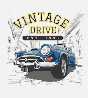 Lema vintage con coche de época en la ilustración de la ciudad