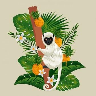 Lémur en la rama con piñas, frutas y plantas.