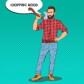 Leñador con barba y hacha
