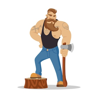 Leñador brutal hombre barbudo en camisa a cuadros roja con hacha en las manos.